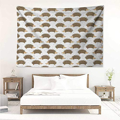 - Hedgehog,Wall Decor Tapestry Cartoon Style Porcupine Mascots with Tiny Little Swirls and Leaves 91W x 60L Inch Tapestry Wallpaper Home Decor Caramel Pale Brown White
