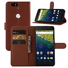 Nexus 6P Case, Premium Leather Wallet Case Cover with Stand Card Holder for Huawei Google Nexus 6P / 6 2nd Gen 2015 Phone (Wallet - Brown)