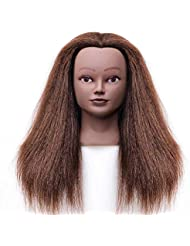 Afro Mannequin Head Hairdresser Training Head Manikin Cosmetology Doll Head 100% 18-20inches Real Hair with Clamp(4#)
