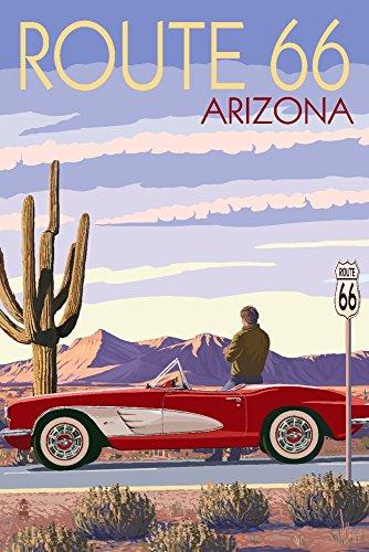 (Arizona - Route 66 - Corvette (9x12 Art Print, Wall Decor Travel Poster))