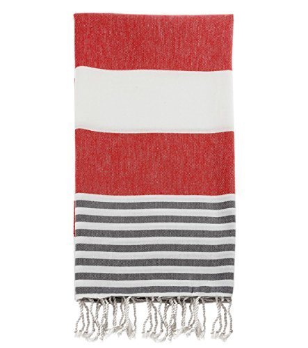 """Swan Comfort 100% Cotton Pestemal Turkish Bath Towel, 39"""" x 70"""" - Red - Gray - [HIGHLY ABSORBANT] You will be surprised once you use it how it absorbs the water like big bulky terry towels [LIGHTWEIGHT & QUICK DRY] Takes less space in your closet or your bag, meanwhile it is lightweight and dries quickly [NATURAL COTTON] Made of 100% pure natural cotton in Turkey by using Anatolian yarn. Size: 39 x 70 inches - bathroom-linens, bathroom, bath-towels - 51eS3lIQH4L -"""