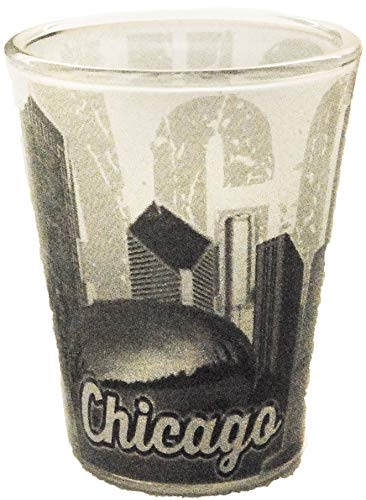 - Chicago Black and White Unique Faded Skyline Shot Glass