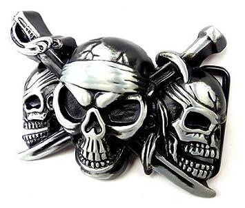 00b10bc2059e Boucle de ceinture homme femme de changement de guertelschallen Gris Noir  pirats Tête de Mort Killer
