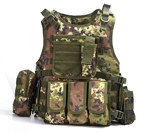 Yakeda Army Fans Tactical Vest Cs Field Swat Tactical Vest Army Fans Outdoor Vest Cs Game Vest Cosplay of Counter Strike Game Vest-322 (Italy Camouflage)