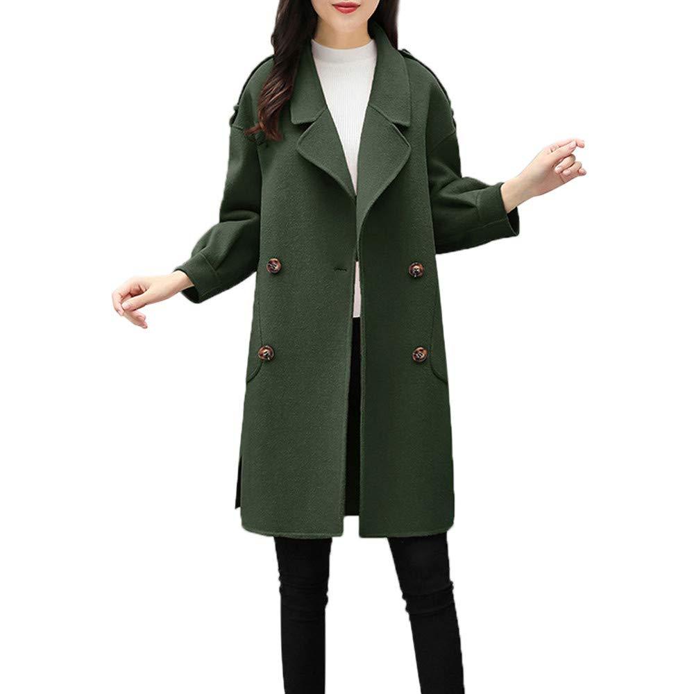 KUDICO Womens Winter Jacket Coat Sale Outdoor Casual Long Parka Cardigan Turn Down Collar Solid Woolen Coat Outwear