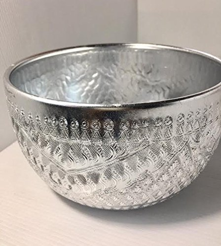 "Price comparison product image 7"" Antique Handcraft Aluminium water Bowl Thai traditional serving bowl, Silver color"