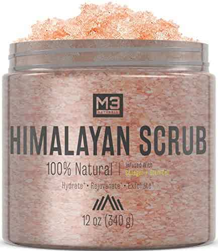 M3 Naturals Himalayan Salt + Stem Cell & Collagen Infused Body & Face Scrub with Lychee Sweet Almond Oil All Natural Skin Care Exfoliating Blackheads Acne Scars Reduces Wrinkles 12 OZ