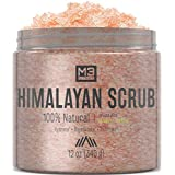 M3 Naturals Himalayan Salt Infused with Collagen & Stem Cell All Natural Body & Face Scrub with Lychee Sweet Almond Oil Skin Care Exfoliating Blackheads Acne Scars Reduces Wrinkles 12 OZ