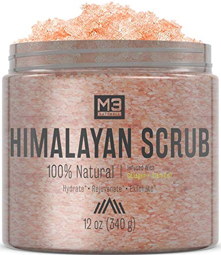 M3 Naturals Himalayan Salt + Stem Cell & Collagen Infused Body & Face Scrub with Lychee Sweet Almond Oil All Natural Skin Care Exfoliating Blackheads Acne Scars Reduces Wrinkles 12 OZ from M3 Naturals