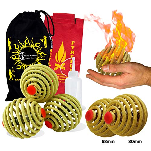 Fyrefli fire juggling balls (68mm) Pro Fire Juggling Ball Set of 3 and fuel bottle + Flames N Games Travel Bag.