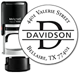 Monogram Address Stamp - Personalized Self Inking Rubber Stamp (MOAD022-SI) - with Locking Bottom Cover