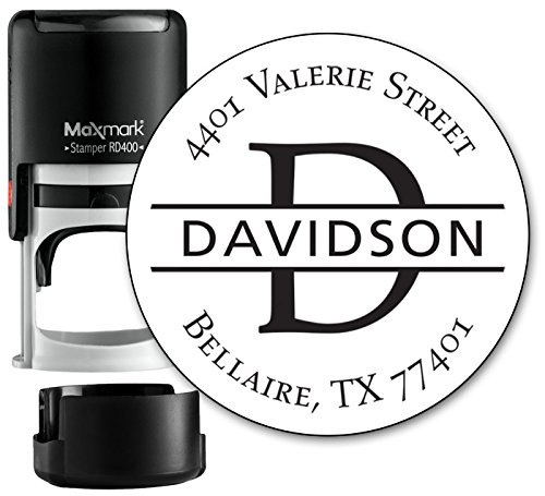 Monogram Address Stamp - Personalized Self Inking Rubber Stamp (MOAD022-SI) - with Locking Bottom Cover Logo Stamp