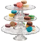 One, Two, or Three tiers Stackable Glass Scalloped Edge Cake or Cupcake stand or Individual cake plates