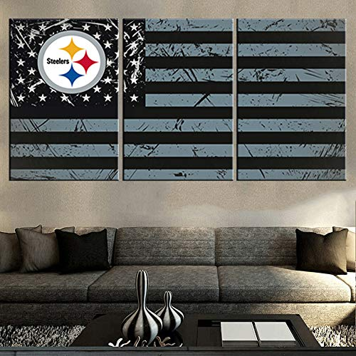 Living Room Modern Pictures American Steelers Flag Painting Red Black Stripes Wall Art 3 Piece Premium Quality Artwork on Canvas Home Decor Framed Ready to Hang Posters and Prints(60''Wx28''H) ()