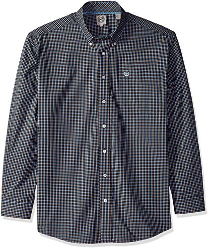 Cinch Men's Classic Fit Long Sleeve Button One Open Pocket Plaid Shirt, Midnight Blue L from Cinch