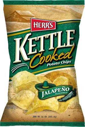 Herrs Kettle Cooked - Herr's Potato Chips, Kettle Cooked Jalapeno 1.125 Oz. (Pack of 30)