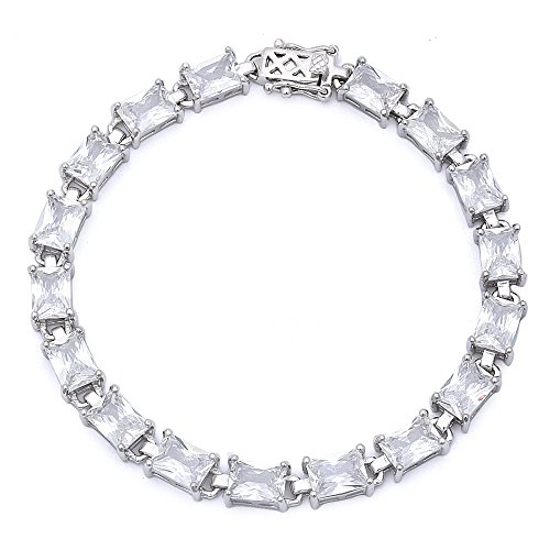 Oxford Diamond Co Sterling Silver 17.50ct Radiant Cut Simulated Gemstone Bracelet 7 1 4 Colors Available