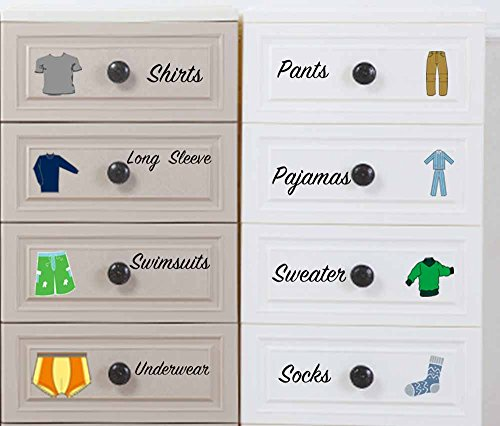 Easma Boy Decals Dresser Clothing Decals Labels Dresser Labels Kids Drawer Stickers Organizing Decals (Kids Drawer)