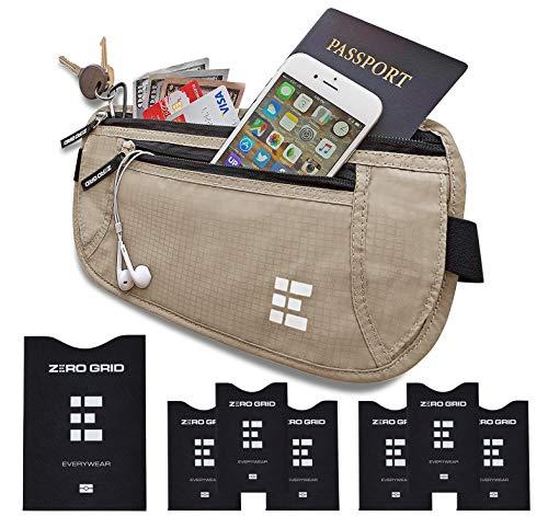 (Zero Grid Money Belt w/RFID Blocking - Concealed Travel Wallet & Passport Holder)