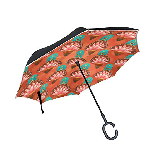 (YUMOING Double Layer Inverted Floral Pattern Red Water Lily Umbrellas Reverse Folding Umbrella Windproof Uv Protection Big Straight Umbrella For Car Rain Outdoor With C-shaped Handle)