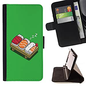 DEVIL CASE - FOR Sony Xperia Z1 Compact D5503 - Sushi Food Fish Japanese Rice Cartoon Drawing Art - Style PU Leather Case Wallet Flip Stand Flap Closure Cover