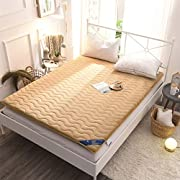 Camel Flannel Futon Mattress Topper, Japanese Floor Mattress Tatami Mat Quilted Mattress Pad Sleeping Pad for Kids Students Dormitory Home Apartment, Thickness:6.5 cm, Camel, Full Size