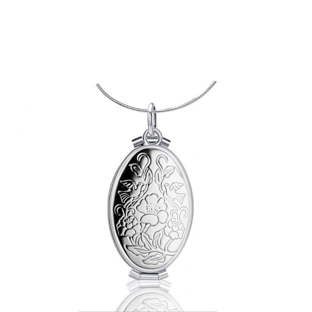 Photo Locket Necklace Memory Photo Locket Pendant Necklace Vintage Women Jewelry 4 Frame Locket Necklace Women Men Pendant Necklace Gold//Silver Xmas Gift-Silver