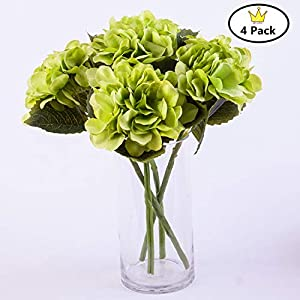 S.Ena, 6 Branch 30 Heads Artificial Silk Fake Flowers Leaf Hydrangea Wedding Floral Home Decor Bouquet Birthday Party DIY, Pack of 4 (Green) 63