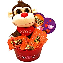 "Reese's Peanutty About You! Reese's Valentine's Day Gift Basket, Reeses Peanut Butter Valentines Gift Basket - Perfect for Valentine's Day (Not Monkeying Around! I""m Nutty About You!)"