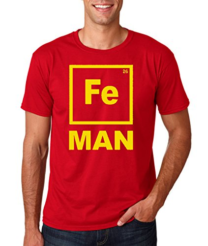 AW Fashion's Iron FE Man -Science Chemistry Periodic Element Men's T-Shirt (Medium, Red)