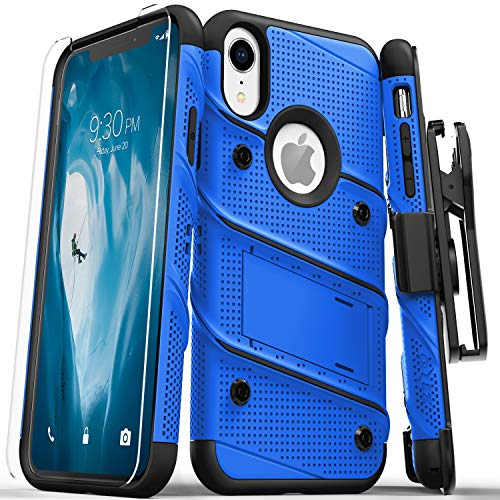 Zizo Bolt Series Compatible with iPhone XR Case Military Grade Drop Tested with Tempered Glass Screen Protector Holster and Kickstand Blue ()