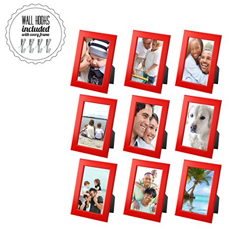 (IKEA Family Red Picture Frame Photo Collage with Metal Hardware - 5 x 7 Picture Frames [A+++QBG Wall Hooks] | Set of 9 Photo Frames - for Wall or Desk - Collage of 9 - Red [9 Pack])