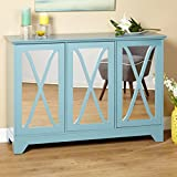 Cheap ModHaus Living Modern Vintage 3 Mirrored Door Buffet Console Table with Adjustable Shelf – Includes Pen (Blue)