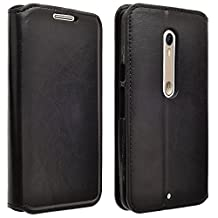 Droid Maxx 2 Case, Customerfirst Droid Maxx 2 Wallet Case, Luxury PU Leather Case Flip Cover Built-in Card Slots & Stand For Motorola Moto Droid Maxx 2- With 1 Emoji Key Chain (Leather Black)