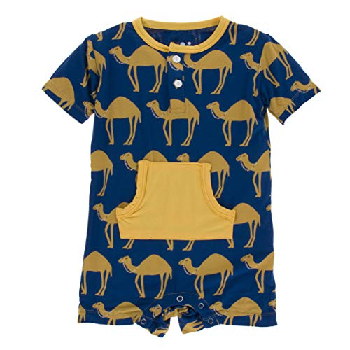 Kickee Pants Little Boys Print Short Sleeve Kangaroo Romper - Navy Camel, 12-18 Months