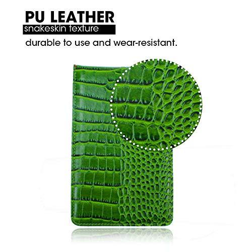 Kofull Golf Scorecard Holder and Yardage Book Cover Leather, Crocodile Effect-Free 1 Golf Pencil 2 Scorecards (Green) (Crocodile Effect Leather)
