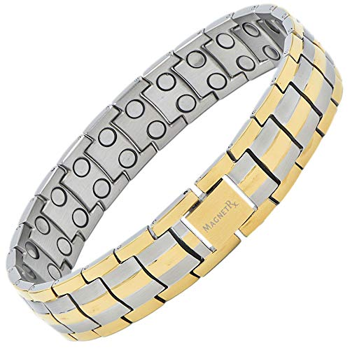 MagnetRX® Ultra Strength Magnetic Therapy Bracelet - Arthritis Pain Relief and Carpal Tunnel Magnetic Bracelets for Men - Adjustable Length with Sizing Tool (Silver & Gold)