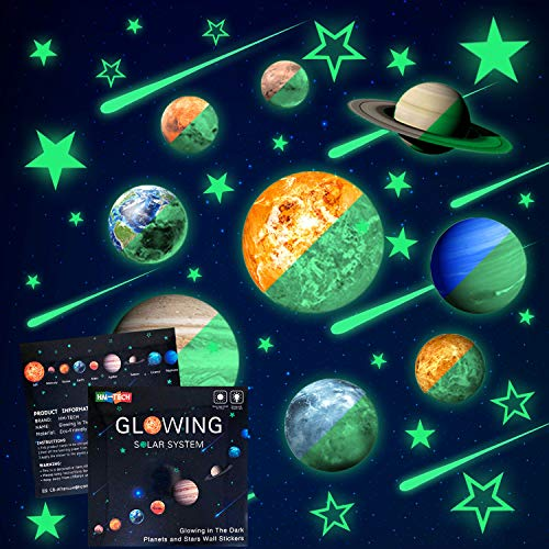 48pcs Glow in The Dark Stars and Planets Wall Stickers 9pcs with 28pcs stars and 10pcs shooting stars ,Bright Solar System Wall Stickers, Glowing Planets Wall Decals for Kids Bedroom Living Room