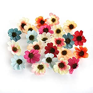 silk flowers in bulk wholesale Fake Flowers Heads Artificial Daisy Flower Head Wedding Home Decoration DIY Corsage Wreath Fall Vivid Fake Silk Flowers 100pcs 4cm (Colorful) 89