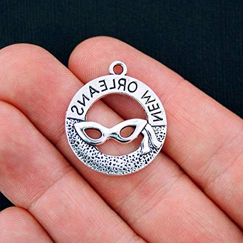 6 New Orleans Charms Antique Silver Tone Vintage Crafting Pendant Jewelry Making Supplies - DIY for Necklace Bracelet Accessories by -