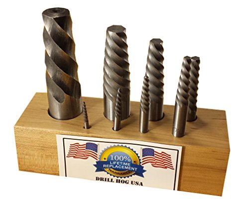 Drill Hog USA 8 Pc Spiral Easy Out Set Round Screw Extractor (1 Spiral Screw Extractor)