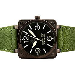 Brand New XO Retro Mens Watch P-51 MUSTANG Military DNA Square Collection Green Dial Green Strap 05S