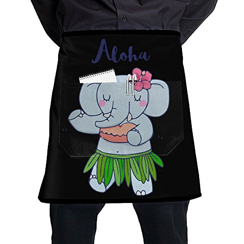 Mens And Womens Aloha Hawaii Elephant Adjustable Cooking Chef Apron With Front Pocket ()