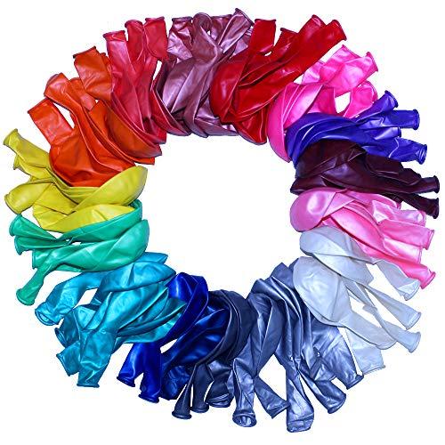 GNAWRISHING Globos, 100 Globos de Latex Muy Resistentes en Colores Variados Pueden rellenarse de Helio, Aire o Agua Decorar Fiestas de cumpleanos, Navidades, Bodas y Eventos