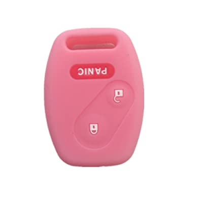 Pink Silicone Rubber Keyless Entry Remote Key Fob Case Skin Cover Protector for Honda 2+1 Buttons: Automotive