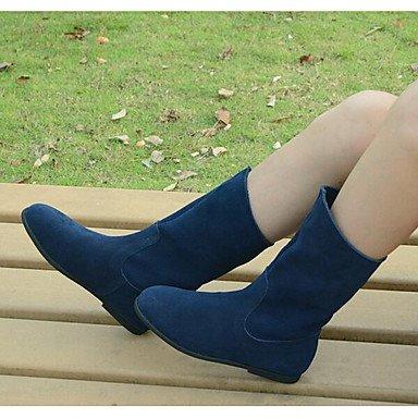 Botas de la mujer Confort Suede Primavera Casual Color Azul pantalla plana negra Screen Color