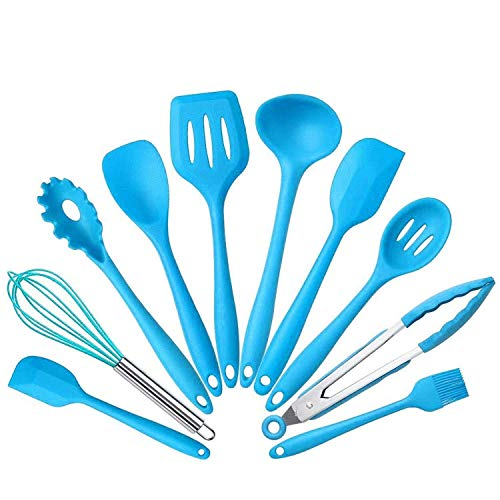 10Pcs/set Silicone Heat Resistant Kitchen Cooking Utensils Non-Stick Baking Tool tongs ladle gadget by BonBon (Blue) ()