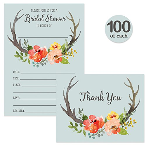 Rustic Bridal Shower Invites & Thank You Cards with Envelopes Matched Set ( 100 of Each ) Boho Country Vintage Write-in-Style Invitations & Woodland Blank Thank You Notes Excellent Value Combination by Digibuddha