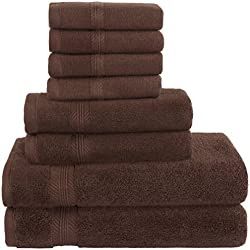 Premium Hotel Quality, 8 Piece Bathroom Towel Set; 2 Bath Towels, 2 Hand Towels, and 4 Washcloths - 100% Ringspun Cotton, Ultra Softness & Absorbency by American Bath Towels, Dark Brown
