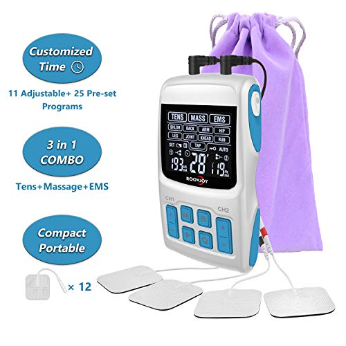 ROOVJOY Combo TENS Unit EMS Muscle Stimulator Pulse Massager 3 in 1 Back Pain Relief Dual Channles 36 Modes Electric Device Electrodes Therapy Accupoint Pads Machine
